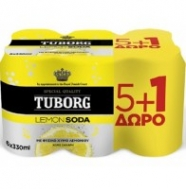 Tuborg Lemon Soda 6x330 ml 5+1 Δώρο