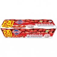 Κρι Κρι Επιδόρπιο Γιαουρτιού 1,7% Λιπαρά Με Φράουλα 3x200 gr 2+1 Δώρο