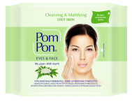 Pom Pon Υγρά Μαντηλάκια Ντεμακιγιάζ για Μάτια και Πρόσωπο Λιπαρές Επιδερμίδες 20 Τεμάχια + 20 Δώρο