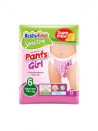 Babylino Sensitive Pants Girls Extra Large No6 15 Τεμάχια