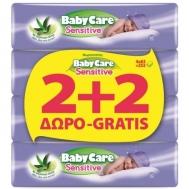 Babycare Sensitive με Εκχύλισμα Αλόης Μωρομάντηλα 4x72Τεμάχια