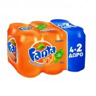 Fanta Πορτοκαλάδα 4x330 ml+2 Δώρο