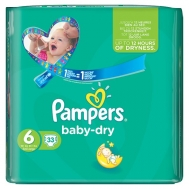 Pambers Baby Dry Extra Large No6  33 Τεμάχια