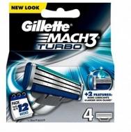 Gillette Mach 3 Turbo Ανταλλακτικά Ξυραφάκια 4 Τεμάχια