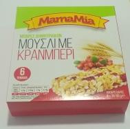 MamaMia Μπάρες Μούσλι με κρανμπερι 6Χ 30 gr