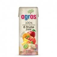 Agros  8 Φρούτα 100% Φυσικός Χυμός 0.25 L