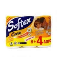 Softex  Care Χαρτί Υγείας με Χαμομήλι  8+ 4 Ρολά