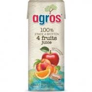 Agros  4 Φρούτα 100% Φυσικός Χυμός 0.25 L